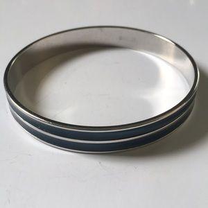 Vintage Monet teal & silver enamel bangle bracelet